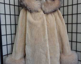 Brand new beige sheared beaver & fox fur jacket coat for women woman size all custom made
