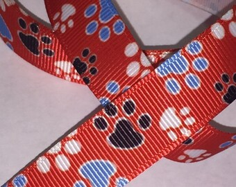5/8 inch Paws on Red - Printed Grosgrain Ribbon for Hair Bow