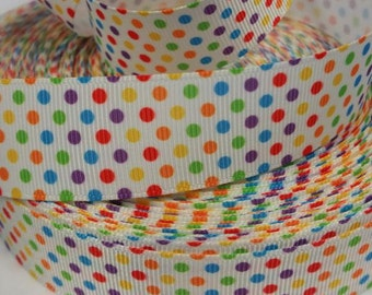 1 inch Colorful POLKA DOTS on White -  Printed Grosgrain Ribbon for Hair Bow