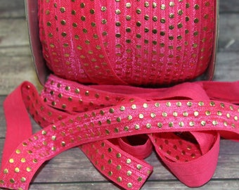"5/8"" Hot Pink with Gold Foil Polka Dots Metallic DIY Headband Supplies Fold Over Elastic FOE per Yard"