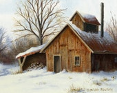 "Limited Edition Print by Corliss Blakely ""Maple Sugaring time"""