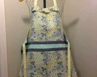 Women's Apron- Floral Apron- Gray Apron- Kichen Apron- Sewing- Hand sewn Apron- Teal Apron-Baking Apron- Crafting Apron- Followurheartco-