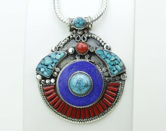 Deal of the Day! Layered Coral Lapis Turquoise Native Tribal Ethnic Vintage Nepal Tibetan Jewelry OXIDIZED Silver Pendant + Chain P3952
