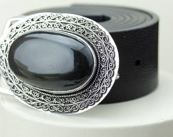 Large Oval Shaped Black OBSIDIAN Vintage Filigree Antique 925 Fine S0LID Sterling Silver + Copper BELT Buckle T66