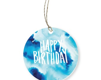 Happy Birthday Gift Tag | Water colour hand lettering | Round Tag