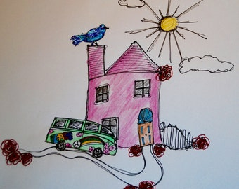 Wall sculpture with camper van and pink house