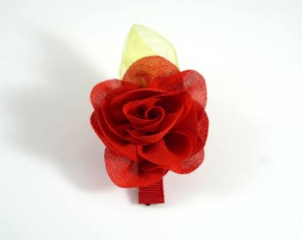 Red Rose Clip. Chiffon Flower Clip. Flower Hair Clip. Easter Bow. Toddler Barrette. Baby Barrette. Flower Barrette. Red Flower Clip