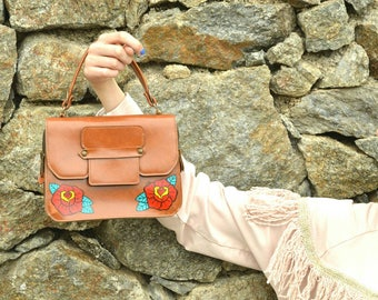 Original leather bag 70 vintage hand painted with rose tattoo traditional