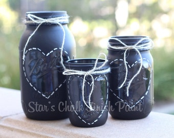 Chalkboard Painted Mason Jars. Heart outline complete set  32oz 16oz and 8oz