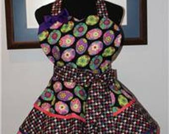 """EASTER """"FLORAL"""" Decorated Easter Eggs 3 Layer Flounce Full Sweetheart Hostess Apron - Handmade!"""