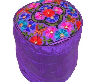 "Purple Floral Embroidery Pouf Cover - Living Room Circular Round Floor Seating Cushion Ottoman Footstool Hassock ~ 16"" x 16"" - NH16740"