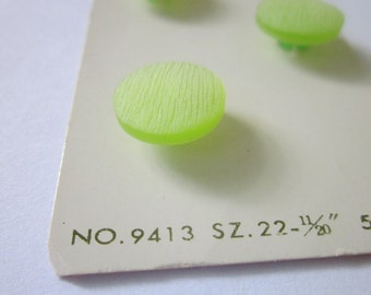 "5 Vintage Buttons, Lansing 11/20"" Lime Green Plastic Shank Buttons, on Original Card"