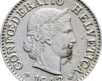 1943 Switzerland 5 Rappen Coin