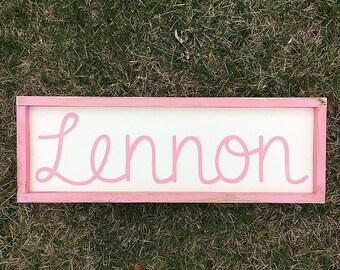 Baby name sign | nursery decor | baby shower gift | personalized baby name sign | woodland nursery | name sign | framed sign | custom name |