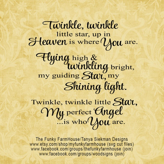 "SVG, & PNG - ""Twinkle Twinkle little star, up in Heaven is where You are"""