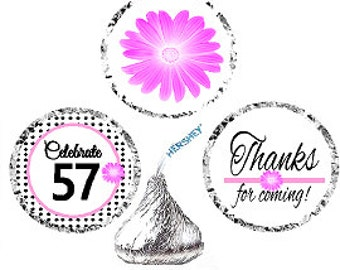 57th Birthday / Anniversary Pink Black Polka Dot Party Favor Hershey Kisses Candy Stickers / Labels -216ct