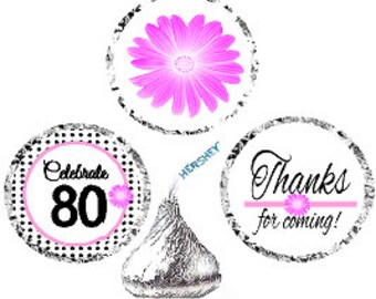 80th Birthday / Anniversary Pink Black Polka Dot Party Favor Hershey Kisses Candy Stickers / Labels -216ct