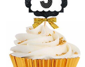 5th Birthday / Gold Ribbon with Polka Dot Numbers Cupcake Picks / Toppers -12ct.