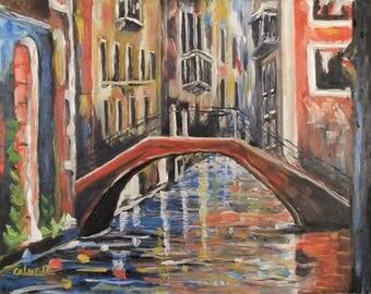 "Oil painting""Bridge in Venice"" Costa Rica Peruvian Andes (16"" x 20"") Signet Canvas Art Impressionism Landscape elinca24"