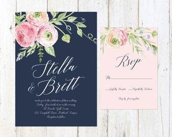 Navy Blush and Cream Wedding Invitation, Floral Wedding Invitation, Navy and Blush Invitation