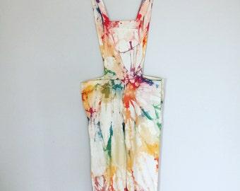 Rainbow tie dye overalls (pre order)