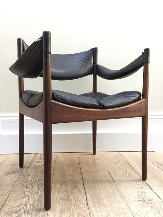 Danish designer Kristian Vedel iconic Modus armchair designed in 1963 in leather and rosewood.