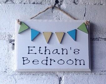 Boys Bedroom door sign, childrens named hanging sign, bedroom decoration, personalised name sign, door sign