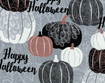 Metallic Pumpkins Halloween Fabric - Potions & Spells Collection by Quilting Treasures- 100% Cotton High Quality Fabric