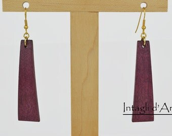 handmade Purpleheart wooden earrings