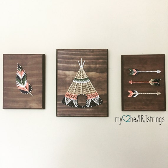 Love my tribe string art trio feather arrow teepee - String art modele ...