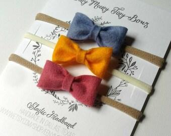 Felt Bow Headband - nylon headband - choose your colors
