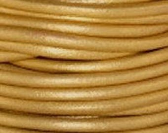 """2mm Round Leather, 2mm Round """"Metalic Gold"""" Leather Sold By The Yard Or Spool #2"""