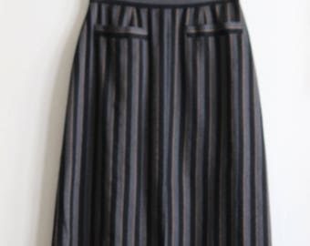 Vintage 1940's Black & Gray Stripe Pencil Skirt with Pocket Detail