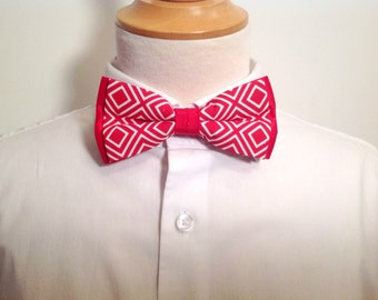 adult bow tie, red and white, lozenge pattern