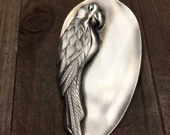 Parrot pendant, parrot necklace, bird necklace, spoon pendant, spoon jewelry, silverware jewelry, bird lover necklace