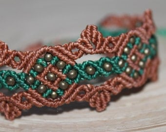 Macrame bracelet, forest, elves, filigree, green, Brown, bronze