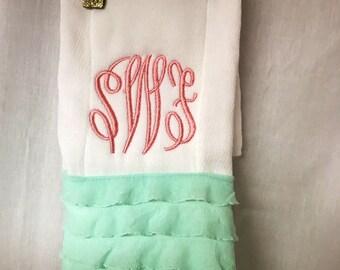 Baby girl monogrammed burp cloth- momogram baby girl gift