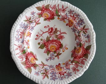"Vintage Copeland Spode England Discontinued RED Gadroon Edge Aster 7 3/4"" Soup Bowl"