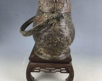 A  Rare Nice Chinese Antique Warring States Bronze Loop-Handled Teapot vessel- Free Ship