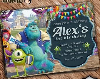 SALE 50% OFF Monster Inc Birthday Invitation - Monster Inc Birthday Theme - Monster Inc Celebration - Bithday Invitation for Boys