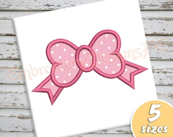 Bow Applique Design - 5 sizes - Machine Embroidery Design File