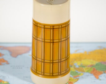 Vintage Tan Geometric Aladdin Drink Thermos with Stopper and Cup 10oz