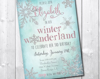 Winter Wonderland Birthday Invitation printable/ Snowflake Invitation digital/wording can be changed/girl, silver, glitter, watercolor
