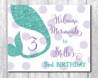 Mermaid Welcome Sign Birthday printable/purple, teal, glitter, tail, match invitation/DIGITAL FILE/8x10/wording and size can be changed