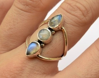 Silver Moonstone Ring, Statement Ring, Sterling Silver Ring, Boho Ring, Hippie Ring, Gemstone Silver Ring