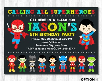 Superhero invitation | Etsy