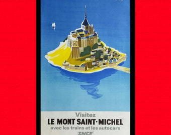 France Travel Print - Mont Saint-Michel Poster French Poster Travel Art Reproduction Travel Hotel Decor France Poster BUY 3 Ge