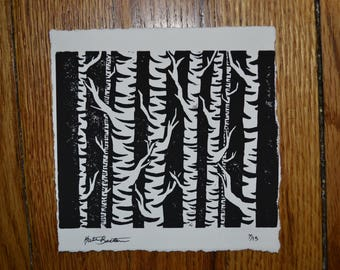 Handmade Linocut Block Print Birch Trees