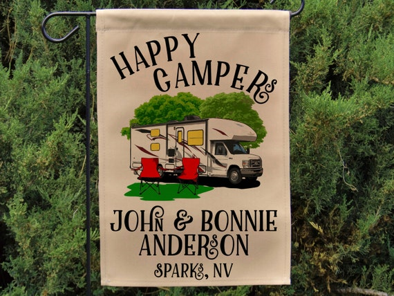 Happy Campers Personalized Class C Motorome Garden Flag or