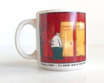 The Far Side Devil Mug by Gary Larson, Vintage The Far Side Damned if You Do Damned if You Dont Mug by Gary Larson